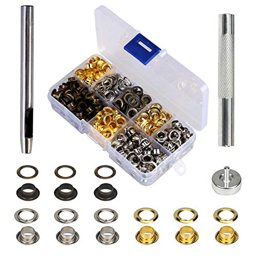 MEZOOM Grommet Kit 200 Set 1/4 Inch Inside Diameter Grommet Setting Tool Metal Eyelets with Storage Box for Shoe Clothes Leather Crafts,DIY Projects