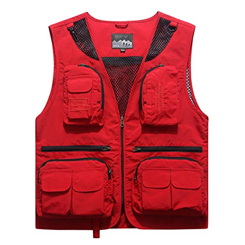 YDSH Mens Outdoor Vest Multi Pockets Hollow Out Camping Fishing Photography Waistcoat Casual Outwear Lightweight Vests