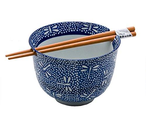 Happy Sales HSRBBLDF, Ramen Udon Noodle Soup Cereal Bowl w/Chopsticks, Dragonfly Design
