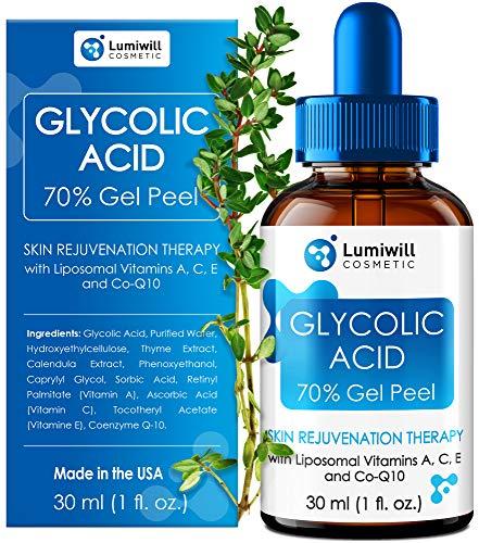 Glycolic Acid Peel 70% - Made in USA - Natural Glycolic Acid for Effective AHA Chemical Peel, Acne Scars, Blackheads Removal - Glycolic Serum + Liposomal Vitamins A, C, E & CoQ10