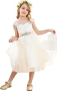 Bow Dream ガールズドレス 女の子のドレス ピアノ発表会ドレス フォーマルドレス 写真撮影 チュール 花嫁の介添え ラインストーン