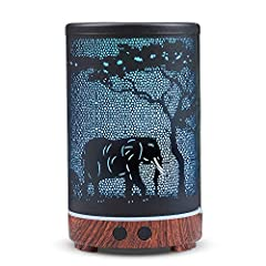 Multifunctional Design:KOBODON Black Aromatherapy essential oil diffuser, cool mist humidifier, night light. Unique Design, Also a beautiful room decor. Continuous cool mist and savor the pleasing scents to give your home a fresh, fragrant scent, gen...