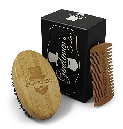Gentlemens Toolbox Bartbürste und Kamm Bartpflege Geschenk-Set von IRONBEARD, Ideal für Bartpflege, Styling und Gestaltung