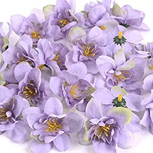 BoKa Store – 50Pcs/Lot DIY Wedding Home Decor Orchid Artificial Flower Head for Wreath Scrapbooking Box Gift Delphinium Fake Flower Craft – Purple – 20pcs Decorative Flowers