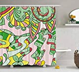 N\A Rideau de Douche, Rideau de Douche bébé Rideau de Douche Naitical Tracery Pattern Ethnic Colorful Doodle Texture Curved Waterproof Decor Salle de Bain Tissu Polyester Design Set Avec crochets