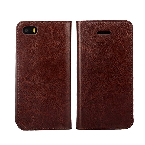 """iPhone 5S 2016 Case, iPhone 5 Case, iPhone SE Wallet Case, Jaorty Genuine Leather Folio Flip Wallet Case Cover Book Design with Kickstand Feature & Card Slots/Cash Compartment (4"""")-Dark Brown"""