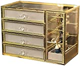 MWXFYWW Cajas para Joyas con 4 cajones Cofre para Joyas con Espejo de Vidrio Organizador de Joyas con Borde de Metal Vintage para Collar Pendientes Exquisito joyero de Alta Gama