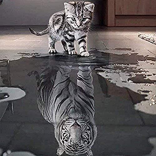 Kit de pintura de diamante 5D para decoración de la pared del hogar con diamantes de imitación de punto de cruz (gato pequeño, gatito, grande, tigre Sein, 35 x 35 cm)