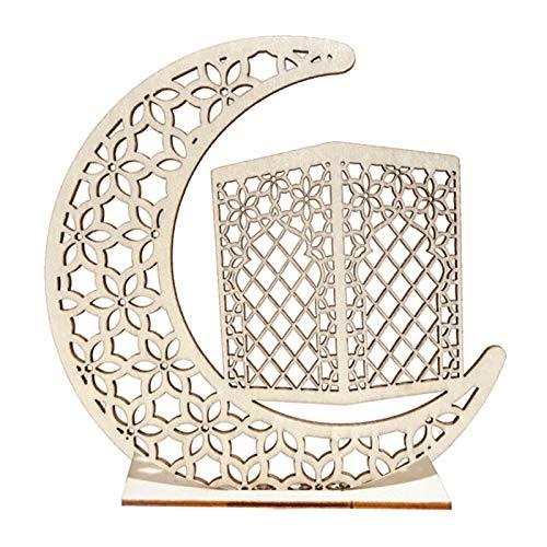 FANTCI Eid Mubarak Ramadan LED Holz Lampe, Ramadan Festival Dekoration Halbmond Star Lanterns, Halbmond Nachtlicht Für Muslimischen Eid, Wesentliche Dekorationen für für Partys nach Hause