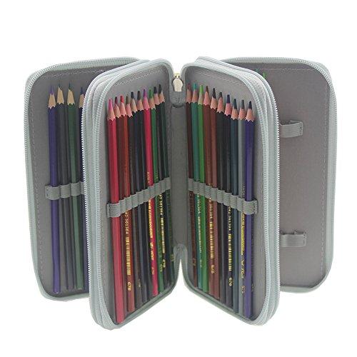 Pshine Large 48 Slots Colored Pencil Holder- Pencil Case-Pencil Bag-Pencil Pouch-Pencil wrap with Zipper (Gray)