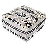 MOCOFO Tabouret de canapé Moderne Minimaliste Tatami Tapis de futon en Tissu Grossier imprimé Pampilles (Rayures Grises et touffeté, 40 x 40 x 20 )