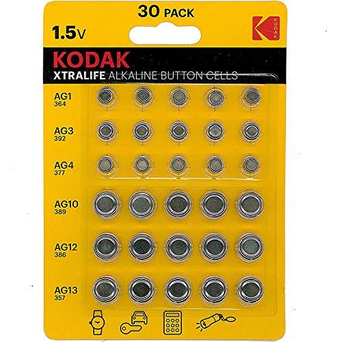 Kodak Xtralife - Pilas alcalinas (30 Unidades, AG1 364, AG3 392, AG4 337, AG10 389, AG12 386, AG13 357)