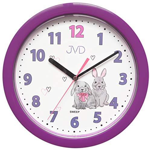 JVD HP612.D2 Wanduhr für Kinder lila Hasen Kinderwanduhr