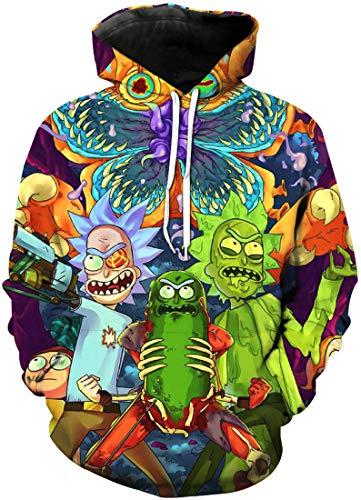 Chaos World Herren Kapuzenpullover Cartoon 3D Druck Grafisches Pullover Langarm Sweatshirt Mit Taschen(S,1Kannibale Blume)