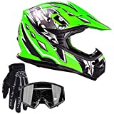 Typhoon Youth Kids Offroad Gear Combo Helmet Gloves Goggles DOT Motocross ATV Dirt Bike Motorcycle Green Black, Large