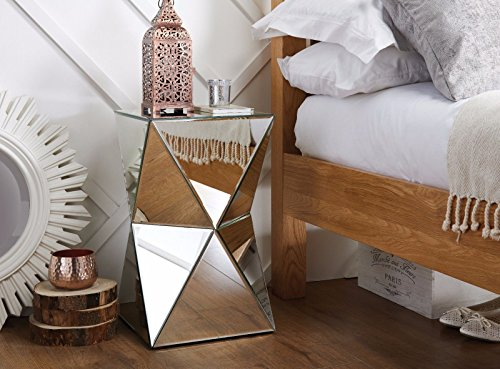 Furniturebox UK Diamond Mirrored Mirror Bedside Bed Side Coffee Table Stand Living Room Bedroom