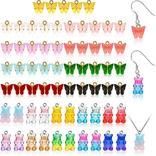 65 Stücke Acryl Schmetterling Charms und Bär Süßigkeit Anhänger Set, 9 Farben Emaille Schmetterling Anhänger, Bunt Gummi Harz Anhänger für DIY Schmuck Handwerk Herstellung (Vibrieren Farbe)