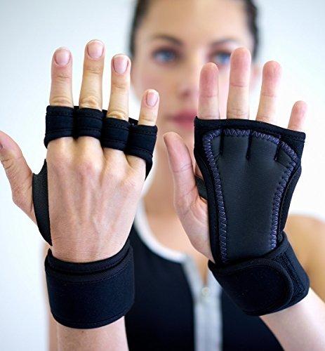 Padded Grip Wrist Support Yoga Pilates Weight Lifting Fitness WOD Cross Training Crossfit Gym Men Women Workout Gloves (Medium)