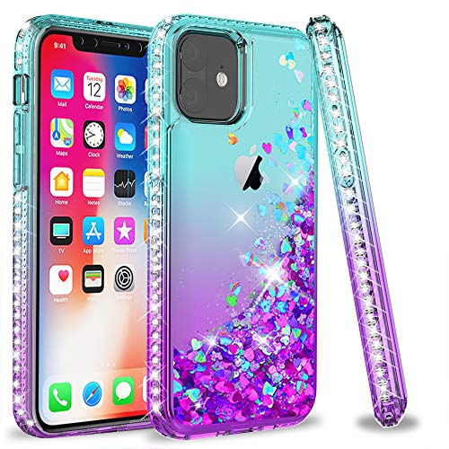 LeYi Cover per iPhone 11 (6.1) Glitter Custodia,Brillantini Diamond Silicone Bumper Case per Custodie Apple iPhone 11 / iPhone XI ZX Turquoise Purple Gradient