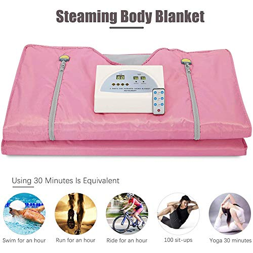 ETE ETMATE 2 Zone Digital Far-Infrared (FIR) Oxford Sauna Blanket, Upgraded Version Zipper Type Weight Loss Body Shaper Professional Detox Therapy Anti Ageing Beauty Machine(Pink)