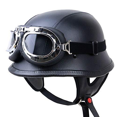 Skingo Retro-Motorradhelm, Unisex, für Erwachsene, Harley-Helm, offener Jethelm, klassisch, Scooter, Fahrrad, Halbhelm, mit Brille DOT/ECE zertifiziert, Cromwell-Helme M(57~58cm) B