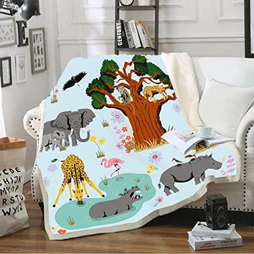 Manta de forro polar con diseño de animales de dibujos animados para niños con elefantes del bosque, impresión 3D, manta de sherpa suave para el hogar, colcha de 150 x 200 cm