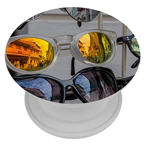 TIZORAX telefoonstandaard en greep uitbreidbaar met fluorescerende achtergrond kleurrijk voor smartphone en tablet, 4x4 cm, Pattern 3