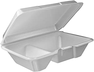 Dart 205HT2, 9x6x3-Inch Performer White Two Compartment Foam Container with a Removable Hinged Lid, Carryout Food Disposable Containers (50)