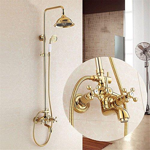 Lalaky Grifos Grifo Grifo Cocina Mezclador Lavabo Cascada Baño Mezclador Grifo para Cocina Baño y Lavabo Titanio Oro Antiguo Ducha de Cobre en la pared se puede levantar y sostener