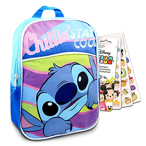 Disney Lilo And Stitch Mini Preschool Backpack For Kids ~ 2 Pc Bundle With 11' Stitch School Bag And Tsum Tsum Stickers For Boys And Girls | Stitch School Supplies Set