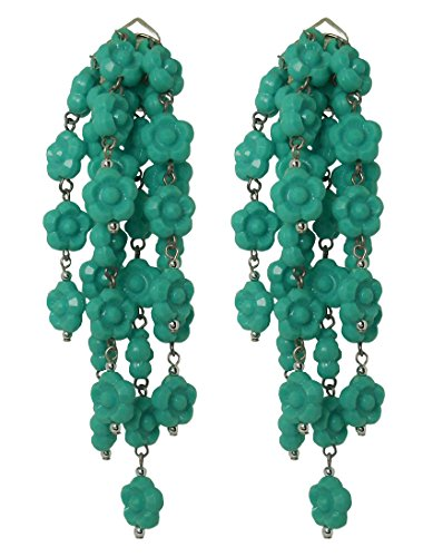 VINTAGE TURQUOISE - Orecchini fatti a mano con clips, senza buco, 7 pendenti di fiorellini Turchese in resina, originali anni 60, lunghezza cm. 9