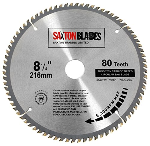 TCT21680T Saxton TCT - Hoja de sierra circular para madera (216 mm x 30 mm x diámetro x 80 t) para Bosch Makita Dewalt