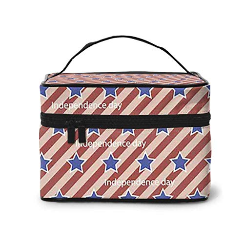 Makeup Bag Independence Day Badge Poster Portable Travel Cosmetic Bag Organizer Multifunction Case with Double Zipper Toiletry Bag for Woman (9'x6.2'x6.5')