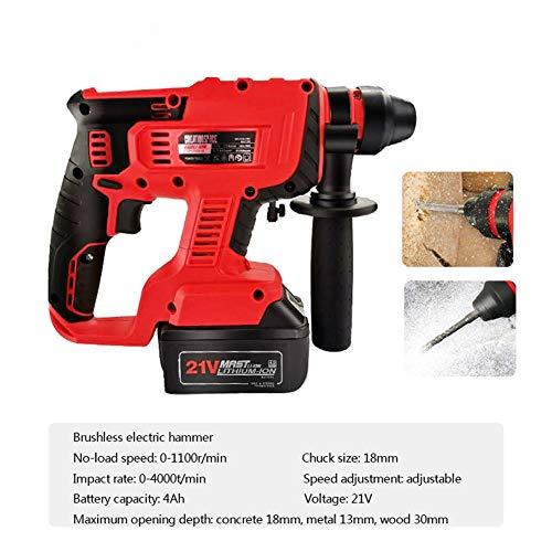 Portable Hammer Drill, Brushless Multifunctional Electric Hammer 21V 4.0Ah 0-1100R/Min 0-4000T/Min Adjustable Speed