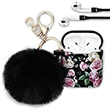 Filoto Case for Airpods, Filoto Floral Series Cute Airpod Case Cover for Apple Airpods 2&1, Silicone Soft Air Pods Protective Cases for Girls with Accessories Keychain/Skin/Pompom/Strap (Purple Rose)