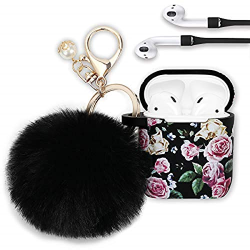 Airpods Case, Filoto Airpod Case Cover for Apple Airpods 2&1 Charging Case, Cute AirPods Silicon Case with Airpods Accessories Keychain/Skin/Pompom/Strap New 2020 Spring Series (Purple Rose)