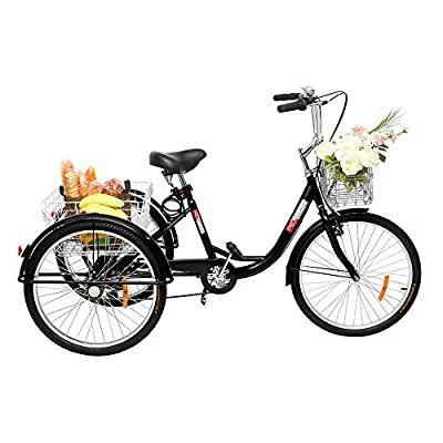Bonnlo Adult Tricycle, 26 in 7 Speed 3 Wheel Trike Bike Cruiser with Fodable Front Basket and Large Rear Basket for Recreation, Shopping, Exercise Men's Women's Bike