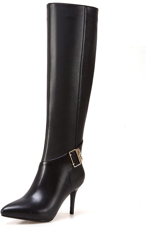 JIEEME Ladies Fashion Zip Pointed Toe Thin Heels Genuine Leather Buckle Strap High Heels Black Knee-high Women Boots