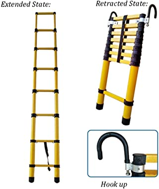 HLL Ladder,Step Ladder 2-6M Extension Tall Ladder with Hooks and Non-Slip Mat Professional Aluminum Telescoping Ladder Construction Outdoor Load 150Kg,2.5m/8.2ft
