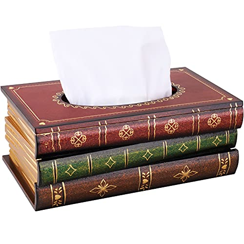 NiHome Wood Tissue Box Cover Novelty Napkin Holder Refill Hinged Lid Dispenser Handcrafted Scholar's Antique Book Reader Vintage Retro Paint Decor Storage Home Office School Business (Red Top)