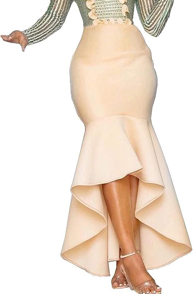 nuoshang Women's High Waist High Low Ruffles Hem Long Bocydon Skirt