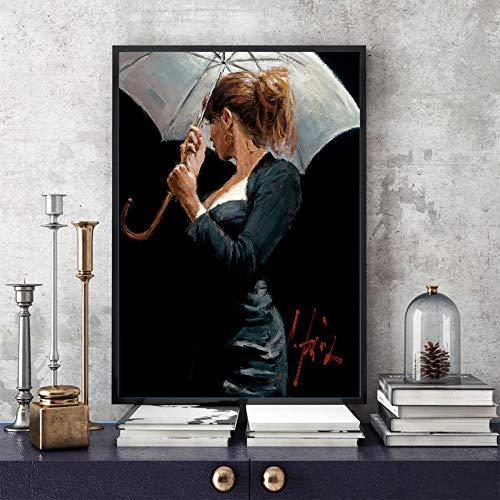 WSNDGWS Zwarte pak Man Wall Art Deco Olie Schilderen Thuis Decor Schilderen Geen Beeld Frame 60x90cm D6