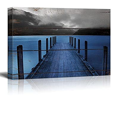 wall26 Canvas Prints Wall Art - Pier at the Evening on Vintage Wood Background - 24  x 36
