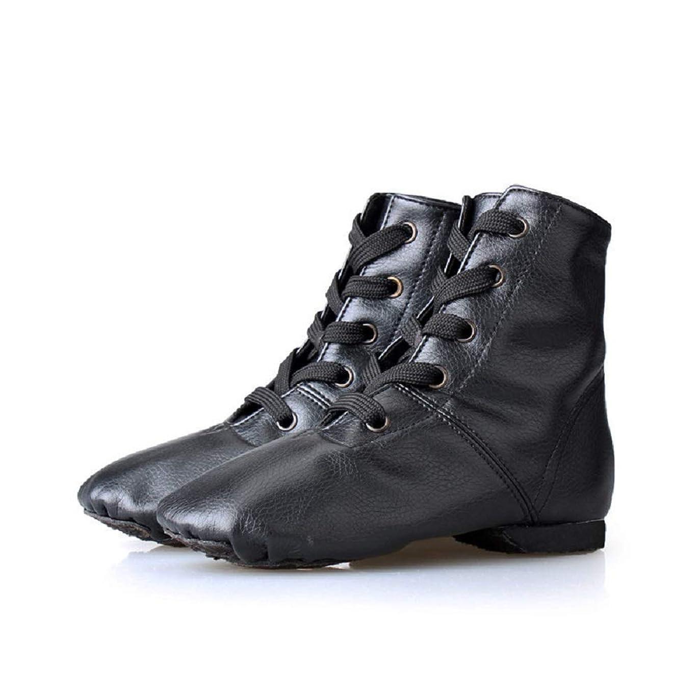 ステレオエミュレートする従者Man&Y レザーハイトップジャズブーツ、ダンスシューズプロフェッショナルソフトボトムモダンダンスシューズ耐摩耗性靴用女性女の子 (Color : Black-PU, Size : 42)