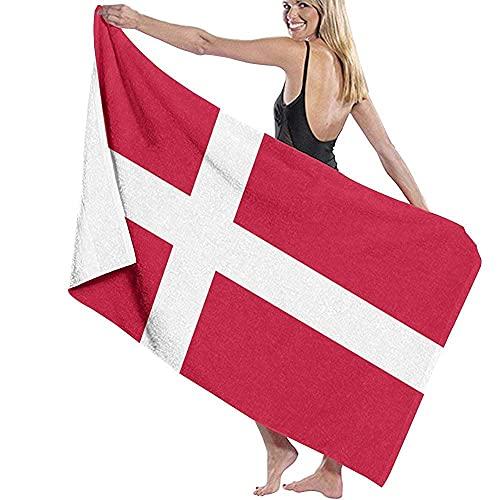 Tcerlcir Strandtuch Badetuch Saunatuch Duschtuch Ultra Leicht Handtuch Schnelltrocknend Saugfähiges Sporthandtuch Flagge von Dänemark 130X80cm