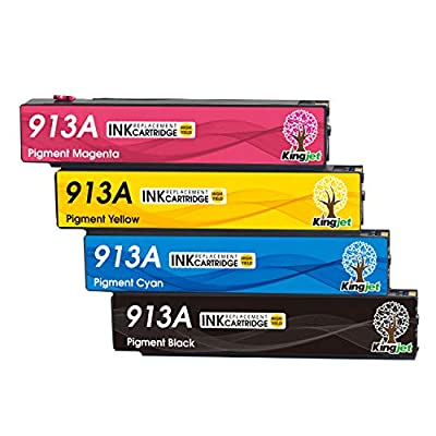Kingjet Replacement for HP 913A 913 Ink Cartridges Compatible with HP PageWide Pro 377dw 377dn Pro 477dw 477dn Pro 352dn 452dn MFP 477dw 552dw 577dw Managed MFP P55250dw P57750dw Printer (4 Pack)