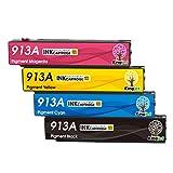 Kingjet Cartuchos de tinta de repuesto para HP 913A 913 compatibles con HP PageWide Pro 377dw 377dn Pro 477dw 477dn Pro 352dn 452dn MFP 477dw 552dw 577dw Managed MFP P55250dw P57750dw (4 unidades)