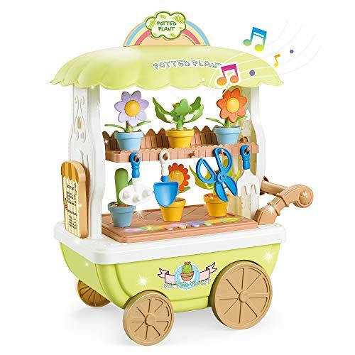 BeebeeRun Juegos de rol Juguetes para niñas,Carrito Juguete Niña,Juguetes para niñas de 3 años,Juguetes de Construcción de Jardín de Flores con Herramientas de jardín