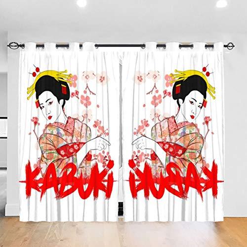 HONGYANW Verdunkelungsvorhänge, Kabuki, weiblich, mit Ösen, isoliert, für Schlafzimmer, Wohnzimmer, 132 x 183 cm, 2 Paneele