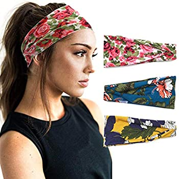 Aukmla Boho Headband Floral Hairbands Elastic Turban Flower Head Wrap Hair Accessories for Women and girls  Pack of 3   Floral Print 1